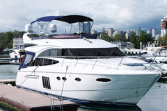 Yacht in the port. Yacht standing in port of Sochi, Russia Royalty Free Stock Images