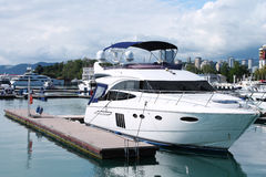 Yacht in the port. Yacht standing in port of Sochi, Russia Stock Photo