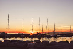 Yacht port at sunset Stock Image