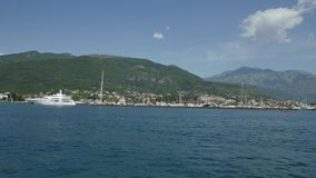 Yacht Porto Montenegro. Elite area of Tivat in Montenegro. Yacht Porto Montenegro. Elite marina of Tivat in Montenegro stock video