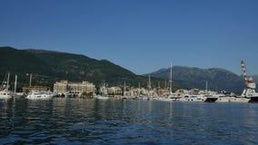 Yacht Porto Montenegro. Elite area of Tivat in Montenegro. Yacht Porto Montenegro. Elite marina of Tivat in Montenegro stock footage