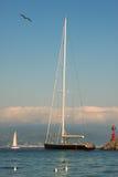 Yacht in Portofino bay. Stock Photo
