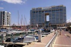 Yacht, promenade and Ritz-Carlton hotel in Herzliya Marina, Isra Stock Photography