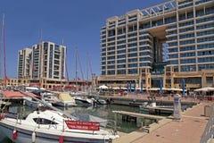 Yacht, promenade and Ritz-Carlton hotel in Herzliya Marina, Isra Royalty Free Stock Photography