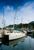 Yacht at quay Royalty Free Stock Image