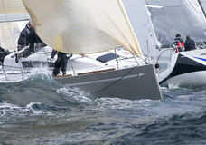 Yacht race. Skipper sailing at yacht race Stock Images