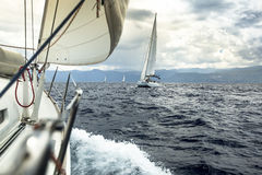Yacht race during stormy weather. Royalty Free Stock Photography