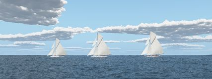 Yacht racing. Computer generated 3D illustration with a yacht racing Royalty Free Stock Image
