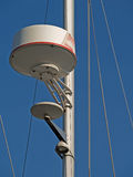 Yacht radar antennas. Navigation radar antennas fixed on a yacht mast Stock Photos