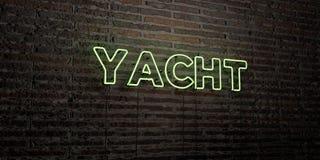 YACHT - realistiskt neontecken på bakgrund för tegelstenvägg - 3D framförd fri materielbild för royalty stock illustrationer