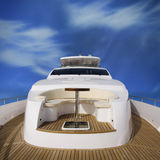 Yacht rear view Stock Photo