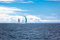 Yacht Regatta at the Adriatic Sea in windy weather Royalty Free Stock Image