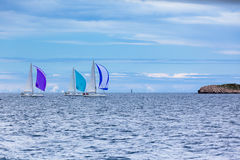Yacht Regatta at the Adriatic Sea in windy weather Stock Images