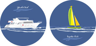 Yacht and regatta club. Icons for design Stock Photo