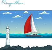 Yacht regatta. Vector illustration Royalty Free Stock Image