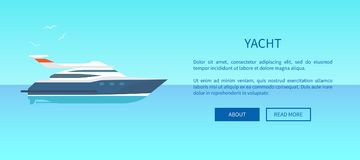 Yacht Rent Advertisement Poster Web Page Design. Modern motor sailboat in water, vector illustration of small vessel for voyages Stock Photo