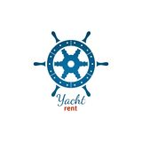 Yacht rent logo template with steering wheel Stock Photos