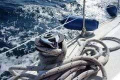 Yacht rigging. Rigging walking yacht, the sea behind the ropes Stock Photography