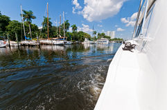 Yacht in the river Stock Photography
