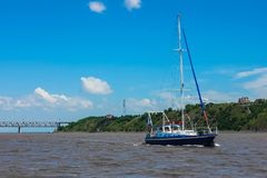 Yacht on the river Royalty Free Stock Photos