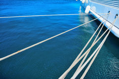 Yacht ropes and hull in Porto Cervo harbor Royalty Free Stock Photography
