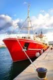Yacht rosso Fotografia Stock Libera da Diritti