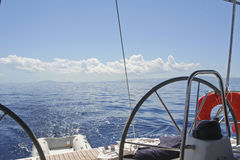 Yacht rudder. With panoramic view over the ionian sea in Greece Stock Photo