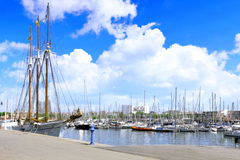 Yacht's in Barcelona sea port. Spain. View on moorage of yacht's in Barcelona sea port. Spain royalty free stock images