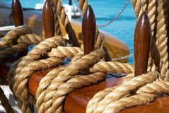 Yacht's ropes and tackles Royalty Free Stock Images
