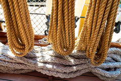 Yacht's ropes and tackles Stock Photos