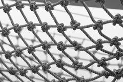 Yacht Safety Net Close Up. Horizontal black and white shot Stock Images