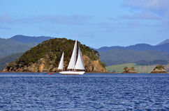 Yacht sail in the Bay of Islands New Zealand Stock Image