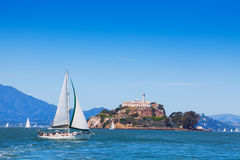 Yacht sail in front of Alcatraz prison island Stock Photo