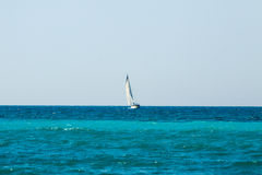 Yacht with sail in Mediterranean Sea Stock Photos