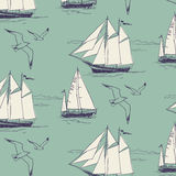 The yacht, sail the ocean. seamless pattern Stock Photo