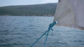 Yacht sail with rope close up stock video