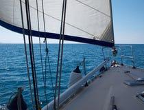 Yacht sailboat sailing Sailboat in the blue ocean Stock Photos