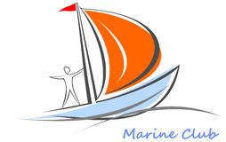 Yacht, sailboat with a sailor on board. Royalty Free Stock Image