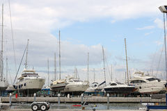 Yacht and sailboats in dry dock Rimini Royalty Free Stock Image