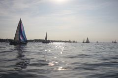 Yacht sailboats sailing on a calm sunny day on the solent Royalty Free Stock Images