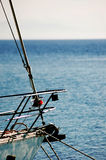 Yacht and sailing. In a landscape Stock Photo