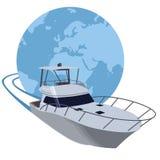 Yacht sailing around the world stock illustration