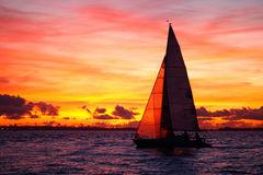 Yacht Sailing At Sunset Stock Image