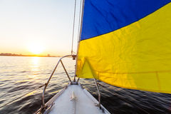 Yacht. Sailing yacht on big river Stock Photography