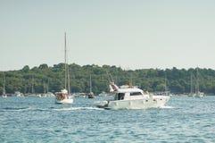 Yacht and sailing boat at sea Stock Image