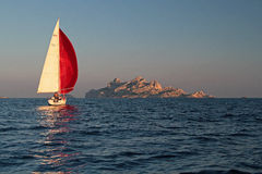 Yacht sailing in the Calanques Stock Photos