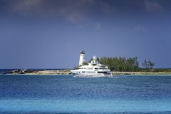 Paradise Island in the Bahamas. Yacht sailing on the Caribbean Sea near the tip of Paradise Island in the Bahamas Royalty Free Stock Images