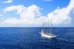 Yacht is sailing on the Caribbean sea on a sunny day. Royalty Free Stock Photography