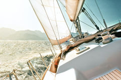 Yacht sailing. At full speed under sail stock photos