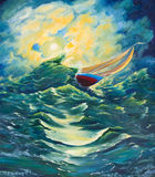 Yacht sailing on high waves. The storm. Oil painting on canvas Royalty Free Stock Photo